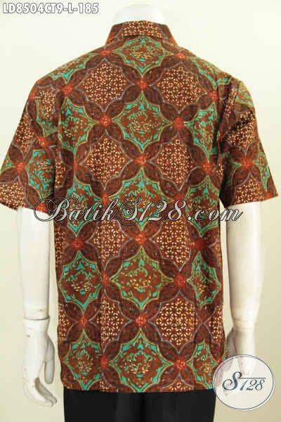 Baju Batik Hem Elegan Lengan Pendek Ukuran L, Kemeja Batik Solo Halus Proses Cap Tulis, Spesial Untuk Pria Karir Tampil Lebih Mempesona [LD8504CT-L]