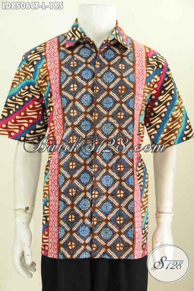 Kemeja Lengan Pendek Desai Terkini, Berbahan Batik Cap Tulis Motif Modern Klasik Penampilan Makin Gagah, Size L