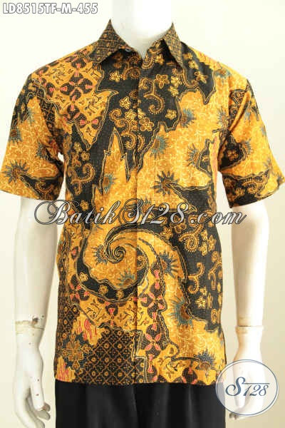 Jual Baju Batik Pria Modern 2017, Kemeja Batik Solo Premium Lengan Pendek Proses Tulis, Bikin Penampilan Lebih Berkelas [LD8515TF-M]