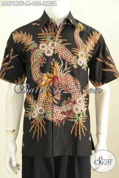 Jual Baju Batik Pria Modis Size M, Busana Batik Hem Lengan Pendek Motif Naga Proses Tulis Untuk Kerja Dan Hangout Tampil Tampan [LD8516TF-M]