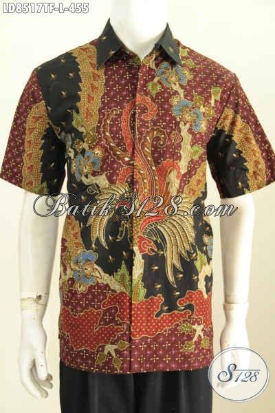 Jual Baju Batik Pria Online, Pakaian Batik Kemeja Lengan Pendek Motif Mewah Tulis Asli Bahan Halus Daleman Full Furing Harga 455K [LD8517TF-L]