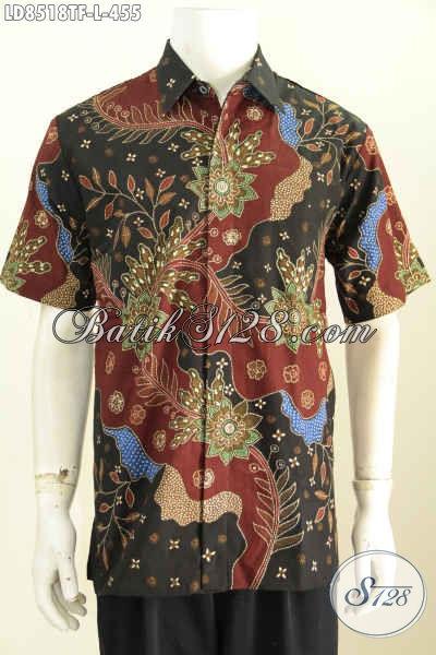 Jual Baju Batik Pria Terbaru, Hem Batik Tulis Lengan Pendek Full Furing Motif Bagus Banget, Cocok Untuk Seragam Kantor [LD8518TF-L]