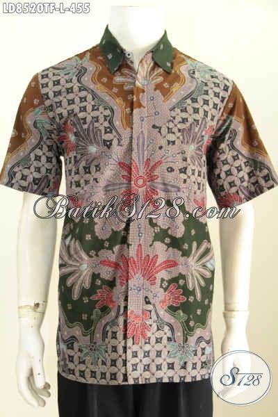 Koleksi Baju Batik Pria Modern, Hem Batik Trendy Motif Unik Dan Gaul Proses Tulis Model Lengan Pendek Full Furing Harga 455 Ribu [LD8520TF-L]
