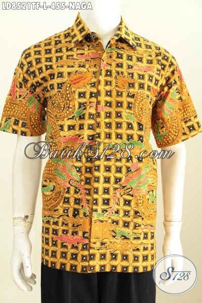 Koleksi Baju Batik Pria Terbaru Dan Up To Date, Hem Batik Lengan Pendek Istimewa Buatan Solo Daleman Full Furing Motif Naga Harga 400 Ribuan [LD8521TF-L]