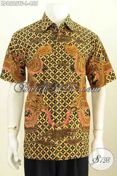 Model Baju Batik Pria Gaul, Kemeja Batik Solo Istimewa Lengan Pendek Motif Bagus Proses Tulis Lebih Mewah Dengan Daleman Full Furing Hanya 400 Ribuan [LD8525TF-L]