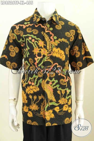 Hem Batik Solo Halus, Kemeja Batik Premium Lengan Pendek Pake Furing Motif Terkini Proses Tulis, ELegan Untuk Kerja Dan Kondangan [LD8526TF-XL]