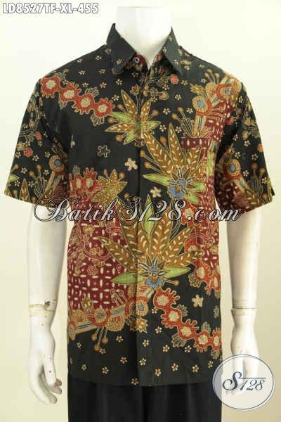 Model Baju Batik Pria Kantoran, Hem Batik Premium Full Furing Lengan Pendek Motif Tulis Bahan Adem Untuk Penampilan Lebih Berkelas [LD8527TF-XL]