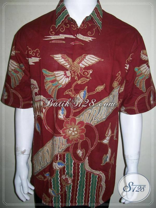 Kemeja Batik Tulis Warna Merah Ukuran XL Keren Dan Gaul