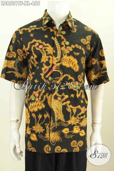 Kemeja Batik Full Furing Motif Mewah, Hem Batik Tulis Ukuran XL Lengan Pendek Spesial Untuk Pria Dewasa Karkr Aktif [LD8531TF-XL]