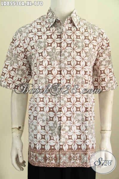 Toko Baju Batik Pria Online Murah, Sedia Kemeja Lengan Pendek Modis Cocok Buat Kerja Dan Jalan-Jalan Motif Klasik Proses Cap Warna Alam [LD8553CA-XL]