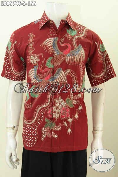 Model Batik Pria Warna Merah Motif Burung Bango
