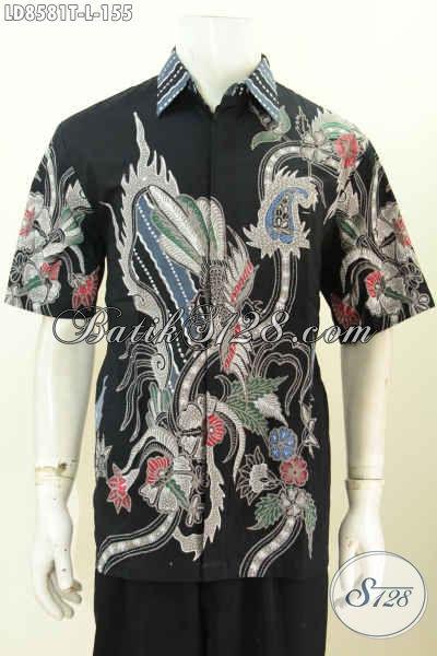Hem Batik Dasar Hitam Motif Keren, Baju Batik Kerja Pria Lengan Pendek Proses Tulis Di Jual Online 155K [LD8581T-L]