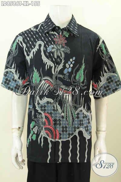 Baju Batik Pria Bagus Lengan Pendek Motif Modern, Hem Batik Tulis Solo Istimewa Di Jual Online 155K [LD8586T-XL]