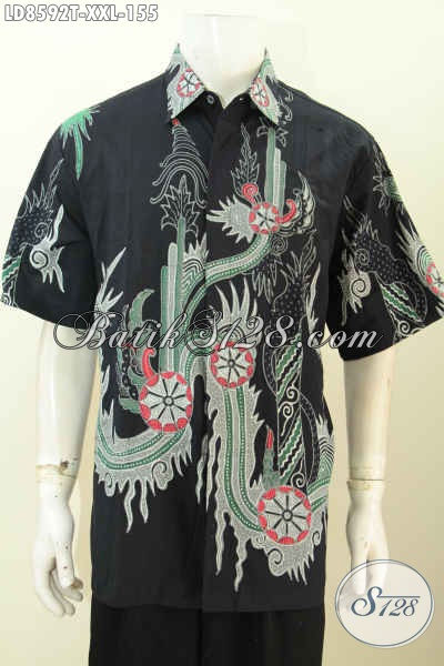 Batik Hem Solo Istimewa, Baju Batik Lengan Pendek 3L Bahan Adem Motif Keren Proses Tulis Di Jual Online 155K [LD8592T-XXL]