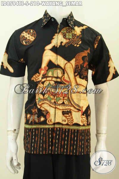 Baju Batik Pria Muda, Hem Batik Remaja Pria, Kemeja Batik Wayang Motif Semar Proses Tulis Soga Kwalitas Istimewa Harga 210K [LD8594TS-S]