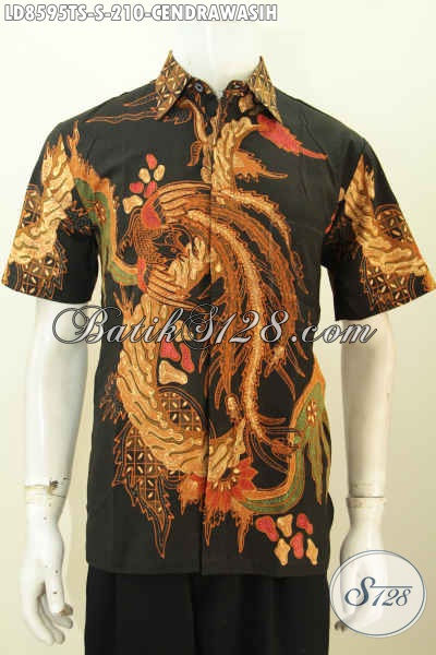 Batik Hem Keren Motif Cendrawasih, Pakaian Batik Lelaki Muda Untuk Tampil Gagah Dan Gaya Proses Tulis Soga Model Lengan Pendek Harga 210 Ribu Saja [LD8595TS-S]