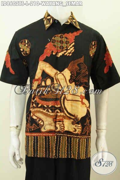 Baju Batik Pria Jankis Motif Wayang Semar, Kemeja Batik Bodyfit Halus Proses Tulis Soga Model Lengan Pendek Hanya 200 Ribuan [LD8602TS-L]