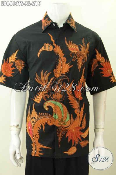 Pusat Baju Batik Online, Sedia Baju Batik Pria Lengan Pendek Murah Kwalitas Mewah, Pakaian Batik Solo Terkini Untuk Kerja Dan Hangout Proses Tulis Soga Hanya 210K [LD8610TS-XL]