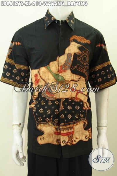Batik Hem Wayang Bagong Bahan Halus Proses Tulis Soga, Pakaian Lengan Pendek Kwalitas Premium Untuk Santai Dan Resmi Harga 210K [LD8612TS-XL]