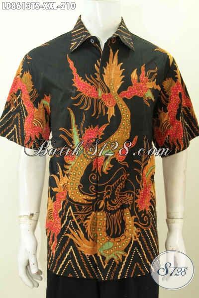 Jual Online Baju Batik Pria Big Size, Hem Batik Solo 3L Lengan Pendek Motif Unik Tulis Soga Untuk Pria Gemuk Terlihat Langsing [LD8613TS-XXL]