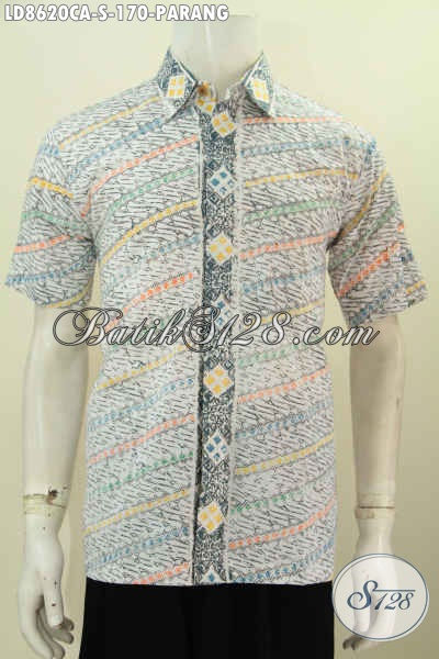 Baju Batik Pria Lengan Pendek Motif Parang, Pakaian Batik Elegan Desain Modis Bahan Adem Proses Cap Warna Alam Harga 170K [LD8620CA-S]