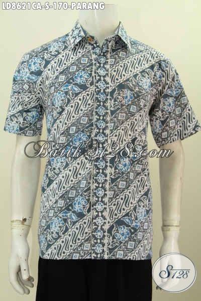 Mode Baju Batik Pria Terkini, Hem Batik Cowok Lengan Pendek Motif Klasik Bahan Adem Proses Cap Warna Alam, Menunjang Penampilan Lebih Berkelas [LD8621CA-S]