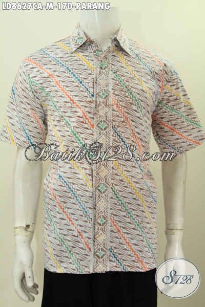 Batik Hem Motif Parang, Baju Batik Pria Modern Buatan Solo Untuk Kerja Dan Acara resmi Bahan Halus Proses Cap Warna Alam Hanya 100 Ribuan [LD8627CA-M]