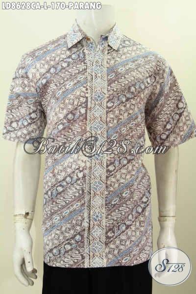 Hem Batik Modis, Baju BatikPria Slimfit Model Lengan Pendek Desain Trendy Untuk Penampilan Lebih Tampan Dan Gagah [LD8628CA-L]