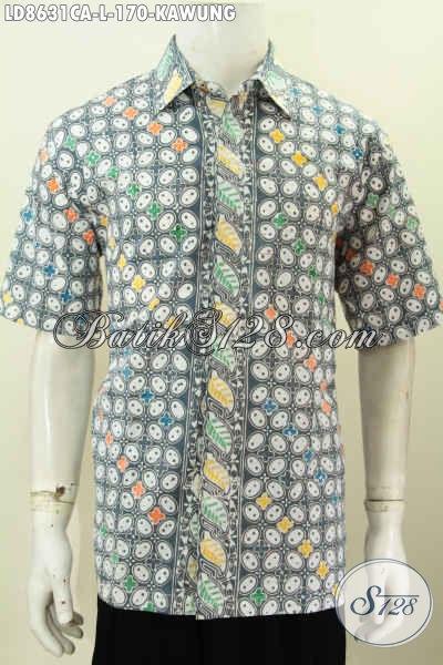 Baju Batik Pria Terkini, Hem Batik Solo Halus Motif Kawung Cap Warna Alam Bahan Adem Nyaman Untuk Kerja Dan Jalan-Jalan [LD8631CA-L]
