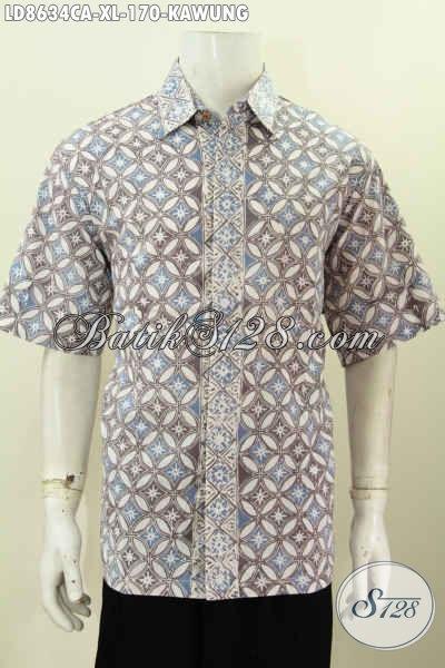 Baju Kemeja Batik Solo Halus Lengan Pendek Spesial Untuk Pria Dewasa Karir Aktif, Pakaian Batik Cap Warna Alam Dari Solo Hanya 170 Ribu [LD8634CA-XL]