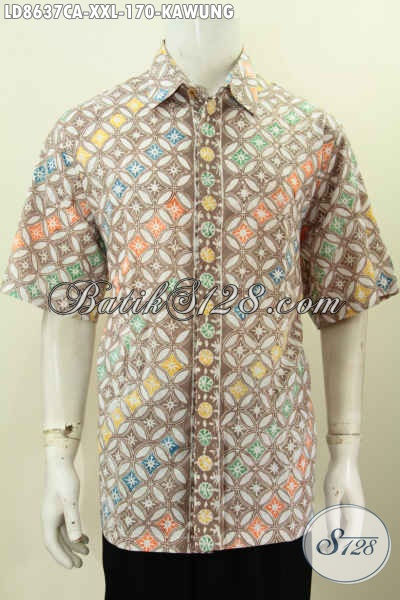 Baju Batik Pria Ukuran XXL, Kemeja Batik Solo Modis Lengan Pendek Motif Kawung Spesial Untuk Lelaki Gemuk Karir Aktf [LD8637CA-XXL]