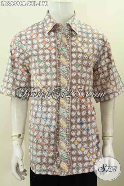 Baju Kerja Batik Motif Modern Klasik, Hem Batik Cap Warna Alam Khas Jawa Tengah Model Lengan Pendek, Exclusive Untuk Lelaki Gemuk Tampil Berkelas [LD8639CA-XXL]