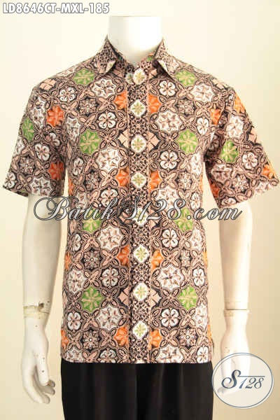 Baju Batik Cowok Keren, Hem Batik Cap Tulis Halus Lengan Pendek Nan Istimewa, Merubah Penampilan Lebih Macho Dan Trendy [LD8646CT-XL]
