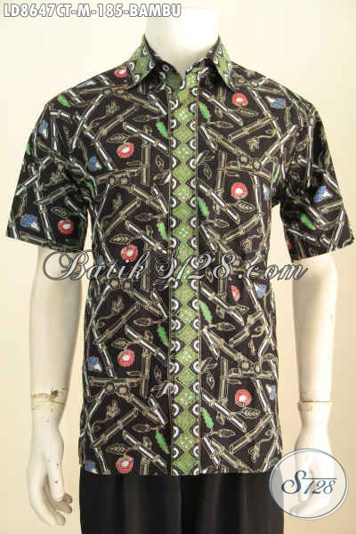 Model Baju Batik Pria Terbaru, Hem Lengan Pendek Elegan Dasar Hitam Motif Bambu Cap Tulis Harga 185K, Size M