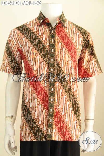 Jual Kemeja Batik Motif Parang, Pakaian Batik Solo Jawa Tengah Elegan Proses Cap Tulis, Cocok Untuk Muda Dan Dewasa, Size M – XL