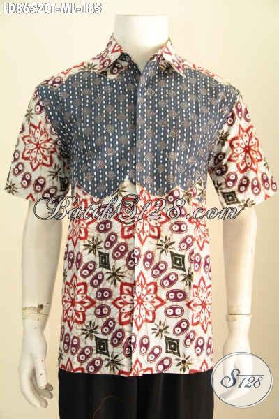 Hem Batik Kombinasi Kwalitas Bagus, Kemeja Lengan Pendek Solo Untuk Pria Terlihat Istimewa, Size M – L