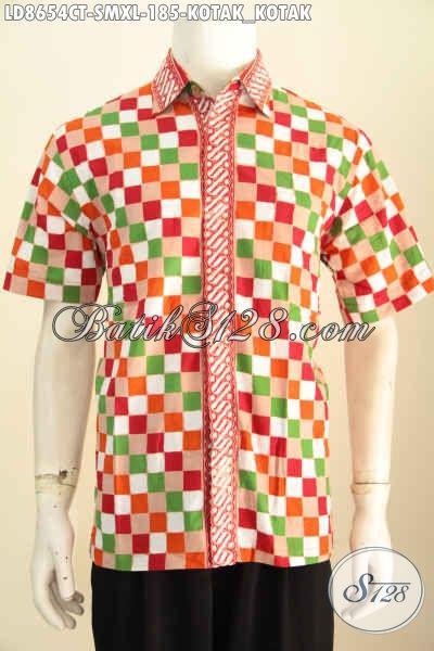 Batik Hem Keren Motif Kotak-Kotak Dengan Kombinasi Warna Cerah Nan Modis, Baju Batik Cap Tulis Lengan Pendek Yang Pas Buat Gaul, Size S – M – XL