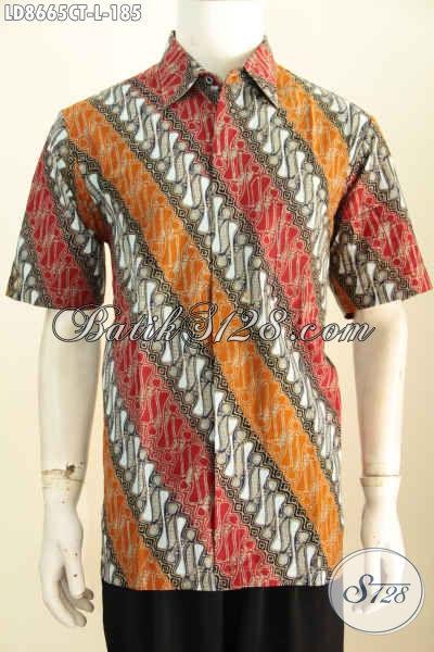 Hem Batik Paran 3 Warna, Kemeja Batik Elegan Proses Cap Tulis Bahan Adem Desain Berkelas, Tampil Terlihat Gagah, Size L