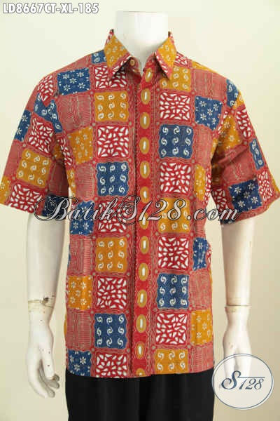 Batik Hem Solo Lengan Pendek Size XL, Pakaian Batik Keren Motif Bagus Cap Tulis, Cocok Buat Kerja Dan Hangout