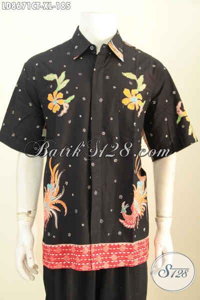 Baju Kemeja Lengan Pendek Halus Produk Terbaru Rilis 2017, Hem Batik Cap Tulis Istimewa Harga 185K, Size XL