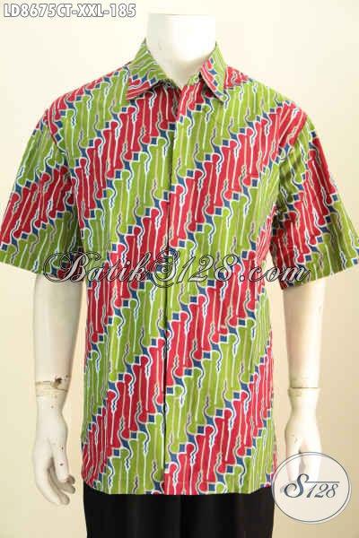 Sedia Hem Batik Pria Gemuk Harga 185K, Kemeja Batik Cap Tulis Motif Klasik Lengan Pendek, Pas Untuk Acara Resmi, Size XXL