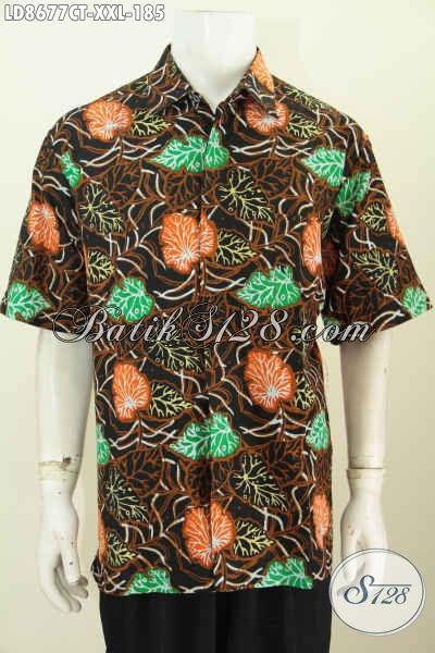 Hem Batik Modis Halus Motif Mewah, Pakaian Batik Cap Tulis Ukuran Jumbo Lengan Pendek, Spesial Untuk Lelaki Gemuk XXL