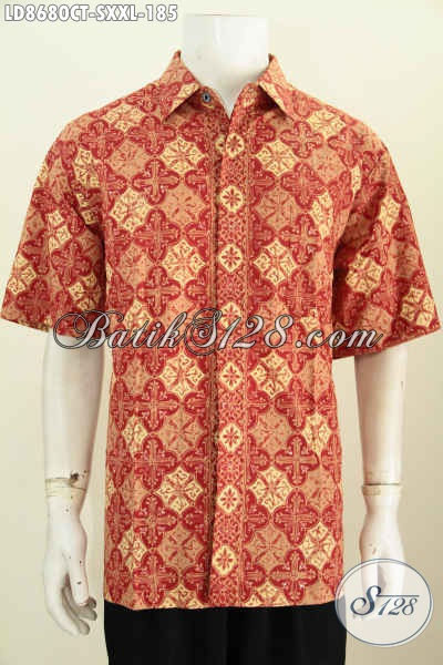 Batik Hem Halus Motif Trendy Menunjang Penampilan Lebih Rapai Dan Tampan, Bahan Adem Buatan Solo Proses Cap Tulis Harga 185K [LD8680CT-S]