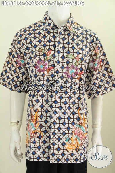 Batik Hem Klasik Motif Kawung Lenga Pendek Cap Tulis Big Size, Pakaian Batik Istimewa Buatan Solo Yang Membuat Penampilan Lebih Berkelas [LD8681CT-XXXL , XXXXL]