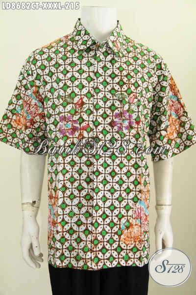 Baju Batik Motif Kawung Lengan Pendek 4L, Hem Batik Klasik Cap Tulis Kwalitas Bagus Harga 200 Ribuan