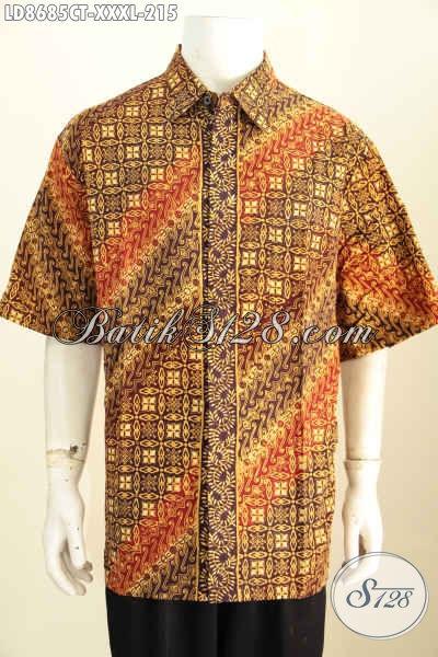 Jual Batik Hem Big Size, Kemeja Batik Solo Halus Lengan Pendek Elegan Motif Klasik Cap Tulis Desain Terbaru Yang Lebih Berkelas [LD8685CT-XXXL]