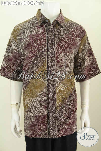 Batik Hem Solo 5L, Kemeja Batik Jawa Terbaru Lengan Pendek Motif Bagus Cap Tulis, Bikin Penampilan Lebih Istimewa, Size XXXXL