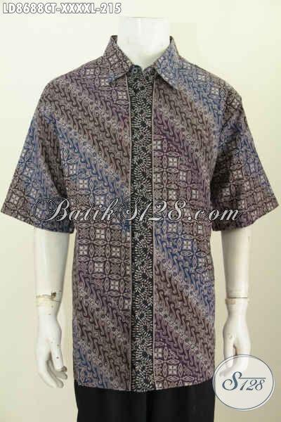 Jual Baju Batik Big Size, Kemeja Batik Solo Lengan Pendek Elegan Motif Klasik Bahan Adem Prosews Proses Cap Tulis Harga 215 Ribu
