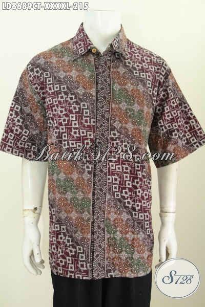 Baju Batik Pria 5L, Kemeja Batik Modern Klasik Istimewa Buatan Solo Asli Proses Cap Tulis Kwalitas Bagus Harga 215K, Pria Gemuk Terihat Gagah [LD8689CT-XXXXL]