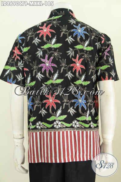 Batik Hem Kombinasi, Baju Batik Pria Untuk Tampil Keren Dan Trendy Proses Cap Tulis Model Lengan Pendek, Pasa Banget Untuk Gaul [LD8690CT-M , XXL]